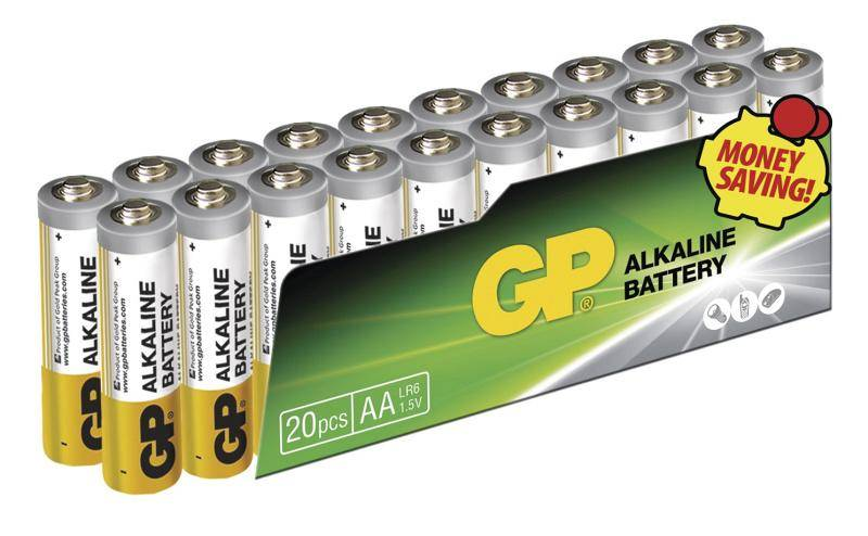Baterie alkalická GP AA, LR06, fólie 20ks (447664)