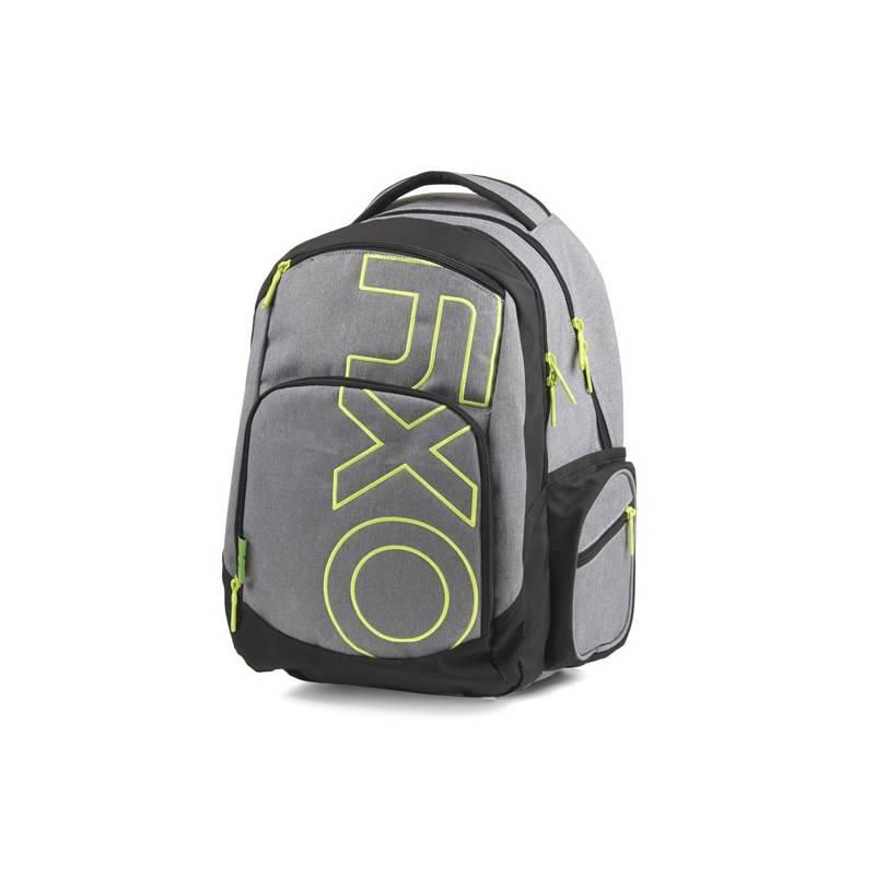 Batoh školský P + P Karton OXY Style Grey Line Green študentský Sáček na přezůvky P + P Karton OXY Neon Dark Blue (zdarma)