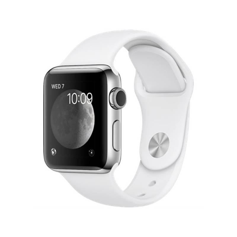 Chytré hodinky Apple Watch Series 2 38mm pouzdro z nerezové oceli – bílý sportovní řemínek (MNP42CN/A) + Doprava zadarmo