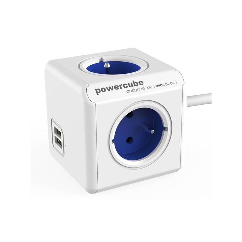 Kábel predlžovací Powercube Extended USB, 4x zásuvka, 2x USB, 1,5m biely/modrý