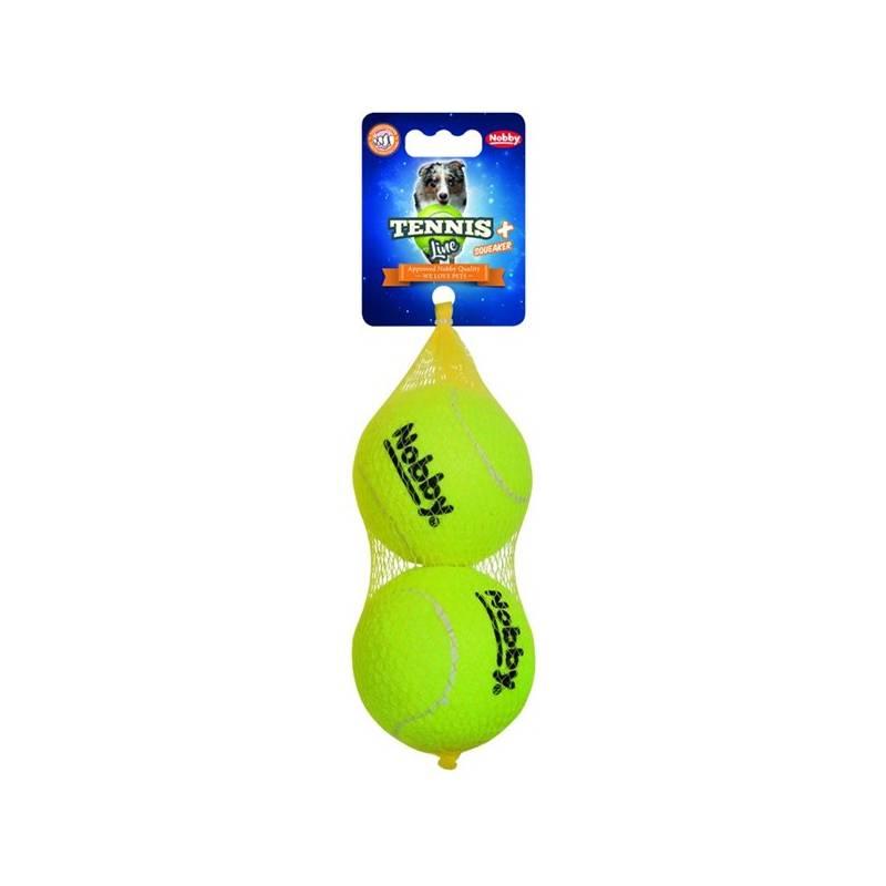 Hračka Nobby tenisová loptička L pískatko 8,5 cm 2 ks