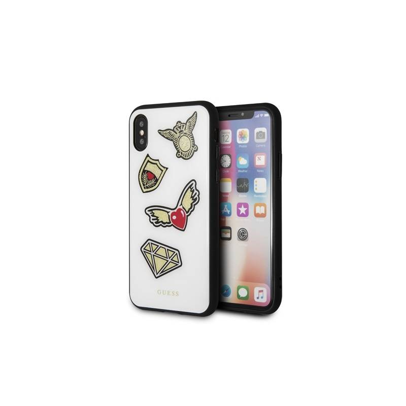 Kryt na mobil Guess Iconic Case pro iPhone X (GUHCPXACCAWH) biely