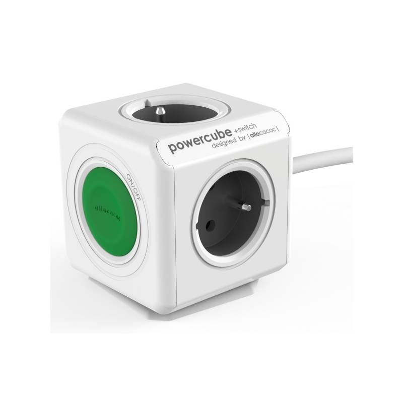 Kábel predlžovací Powercube Extended Switch, 4x zásuvka (8719186004253) sivý/biely/zelený