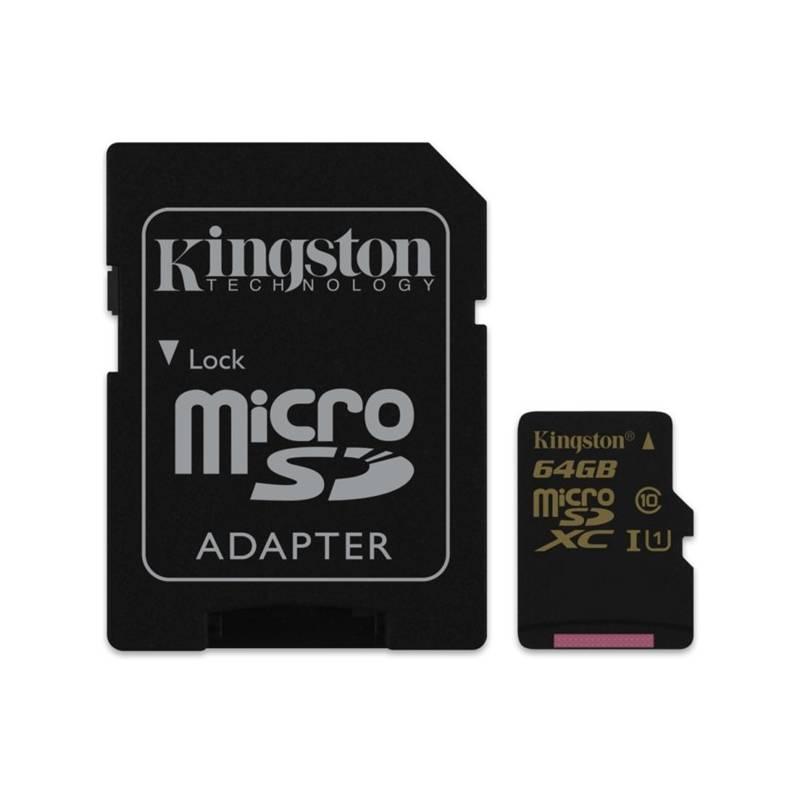 Pamäťová karta Kingston MicroSDXC 64GB UHS-I U1 (90R/45W) + adapter (SDCA10/64GB)