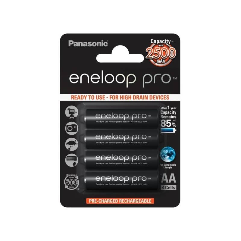 Batéria nabíjacie Panasonic Eneloop Pro AA, 2500mAh, 4 ks (BK-3HCDE/4BE) čierna