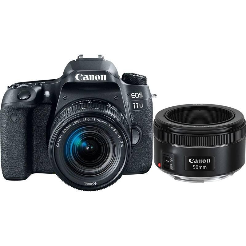 Set výrobkov Canon EOS 77D + 18-55 IS STM + EF 50 mm f/1.8 STM + Doprava zadarmo