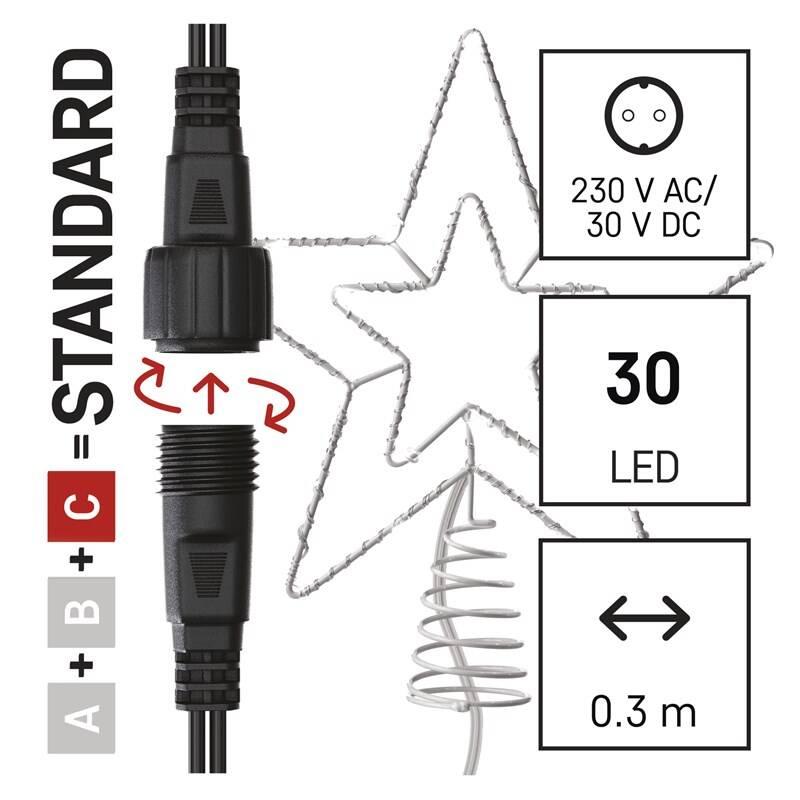Spojovacie reťaz EMOS 30 LED Standard spojovací vánoční hvězda, 28,5 cm, venkovní i vnitřní, studená bílá, časovač (D1ZC01)