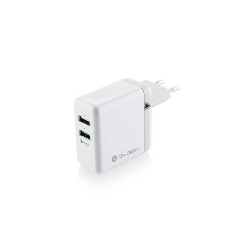 Nabíjačka do siete GoGEN ACHQ 203, 2x USB, 2,4A s funkcí rychlonabíjení QC 3.0 biela