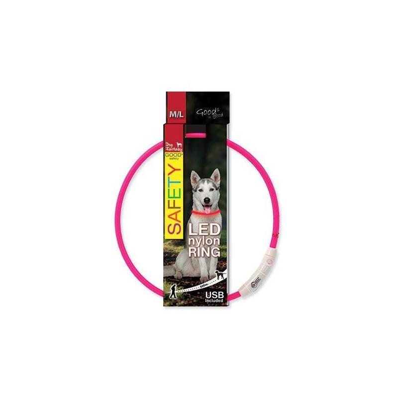 Obojok Dog Fantasy LED nylónový M/L ružový