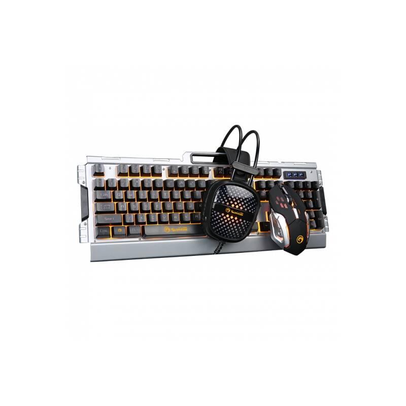 Klávesnice s myší Marvo CM303 sada s headsetem, CZ/SK (CM303 CZ) stříbrná
