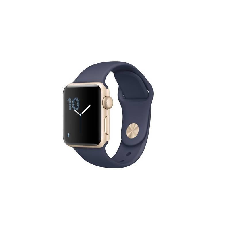 Chytré hodinky Apple Watch Series 2 38mm pouzdro ze zlatého hliníku - půlnočně modrý sportovní řemínek (MQ132CN/A) + Doprava zadarmo
