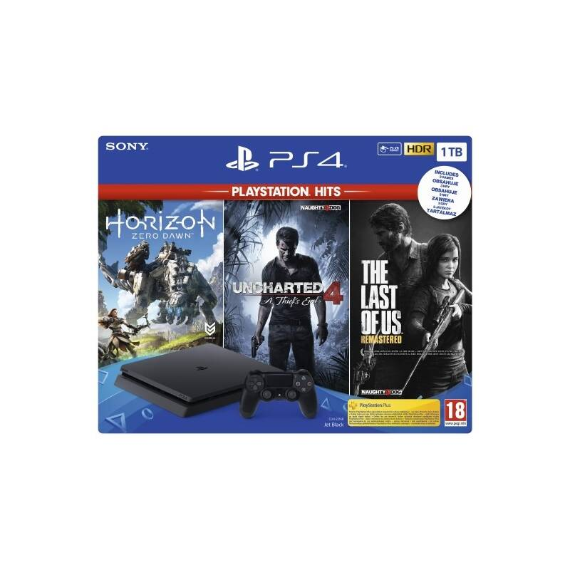 Herní konzole Sony PlayStation 4 PlayStation 4 1 TB + Horizon: Zero Dawn + The Last of Us + Uncharted 4 A Thief's End (PS719931508) černá