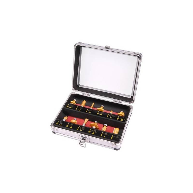 Sada fréz EXTOL Craft 44037, do dřeva s SK plátky, 12 ks v kovovém kufru ocel