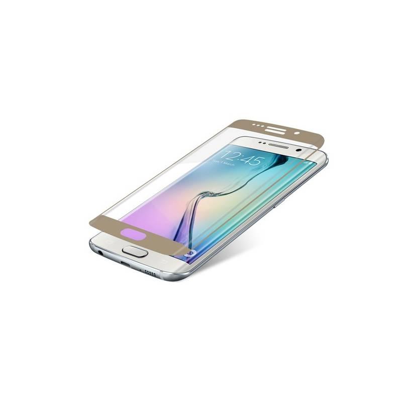 Ochranné sklo InvisibleSHIELD Glass Contour pro Samsung Galaxy S6 Edge - zlatý rám (ZGG6ECGS-GD0) priehľadné