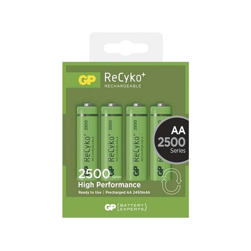 Batéria nabíjacie GP ReCyko+ AA, HR6, 2500mAh, Ni-MH, krabička 4ks (1032214113) zelená