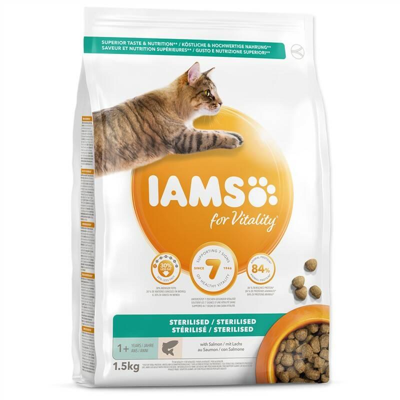Granule Iams Cat Adult Sterilized Salmon 1,5kg