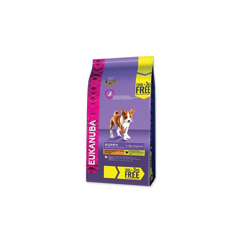 Granule Eukanuba Puppy & Junior Medium Breed 15 kg + 3 kg ZDARMA