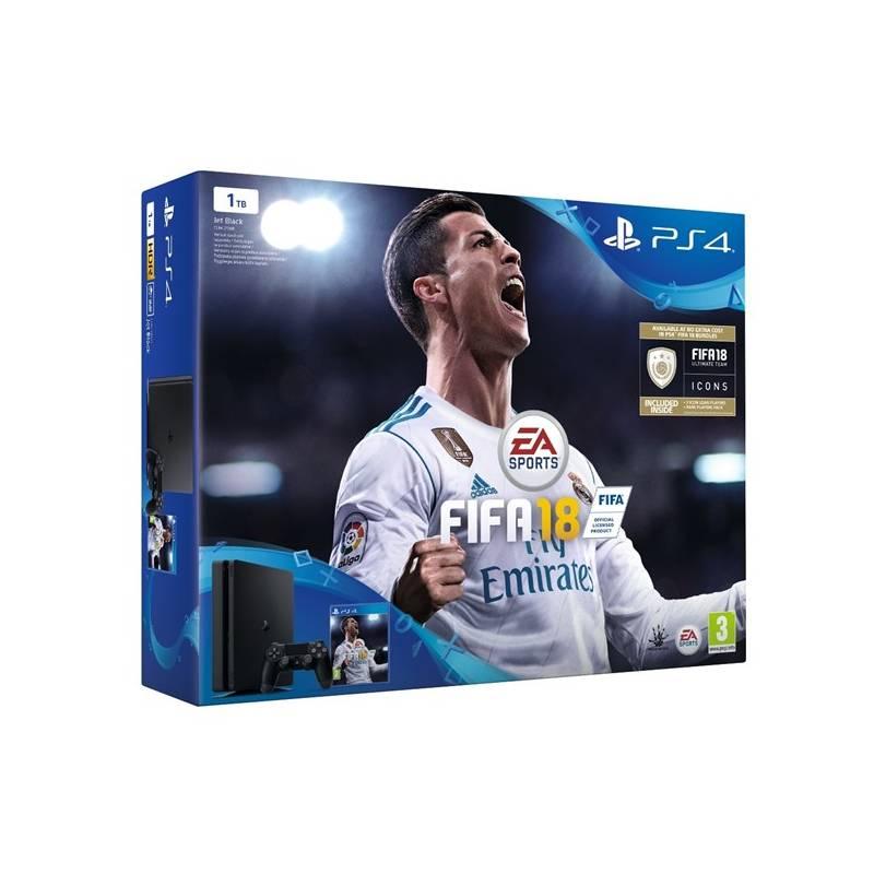 Herná konzola Sony PlayStation 4 SLIM 1TB + FIFA18 + PS Plus 14 dní (PS719913269) čierna + Doprava zadarmo