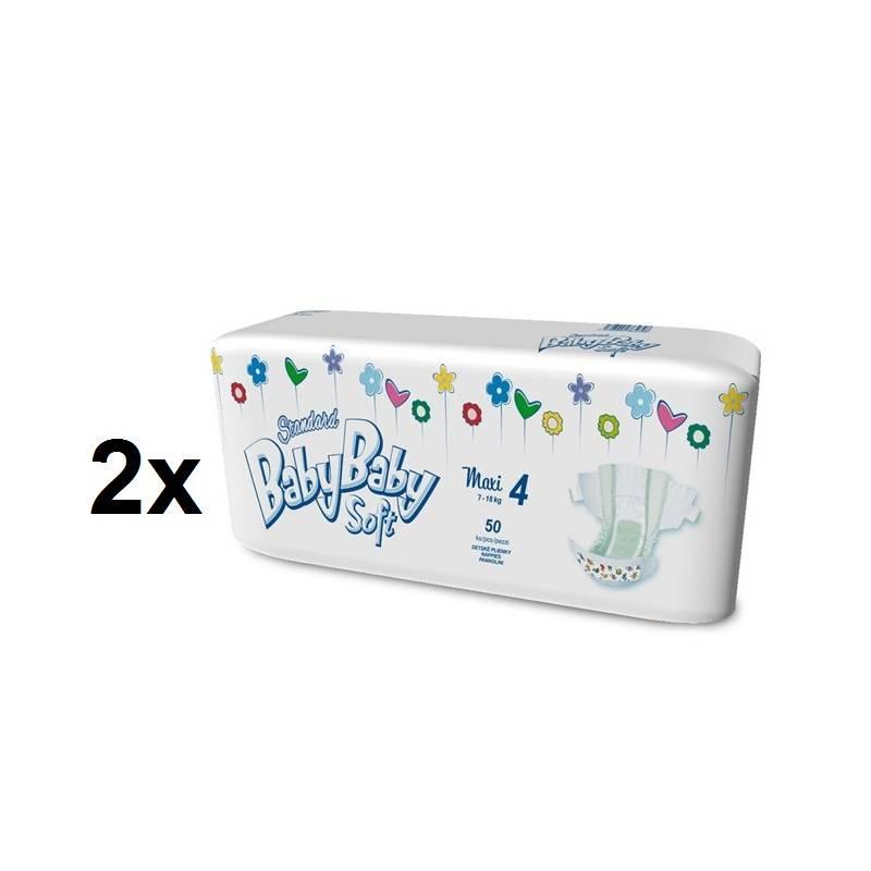 Plienky BabyBaby Soft Standard MAXI vel. 4, 7-18kg (100ks) biele