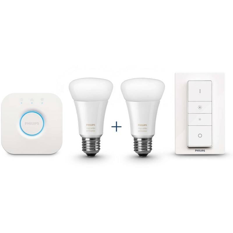 LED žiarovka Philips Hue white ambiance, 9,5W, E27 ((2x LED žárovka + bridge + ovladač) (415899)