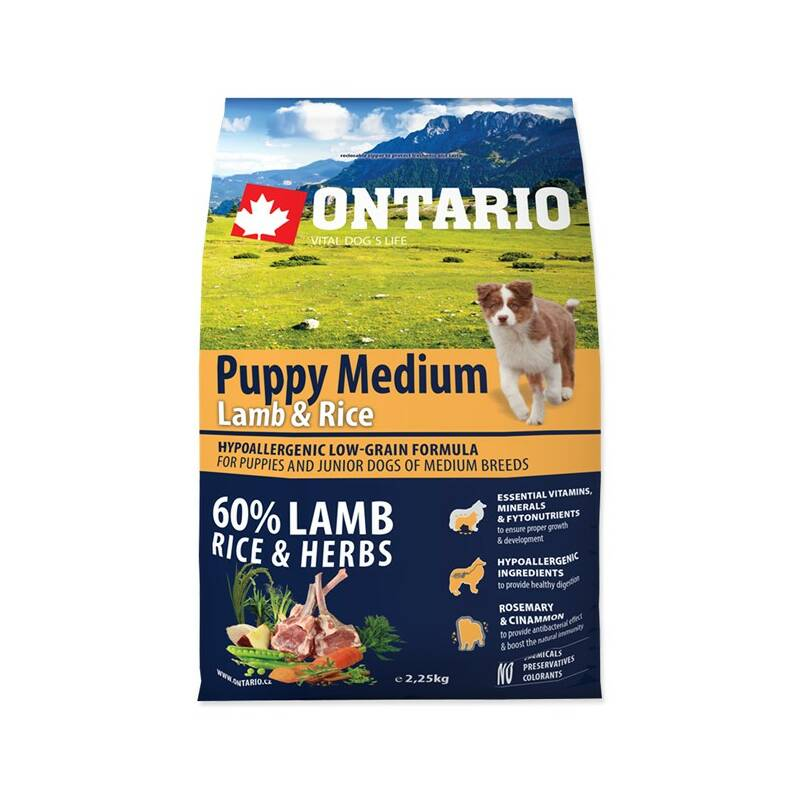 Granule Ontario Puppy Medium Lamb & Rice 2,25kg
