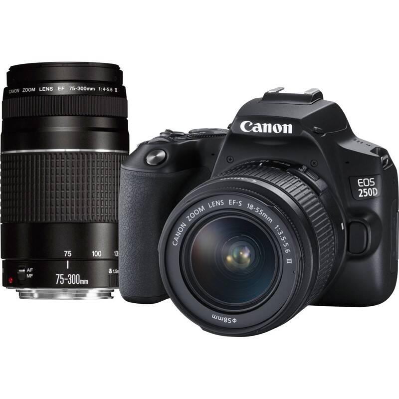 Digitálny fotoaparát Canon EOS 250D + 18-55 DC + 75-300 DC (3454C016) čierny
