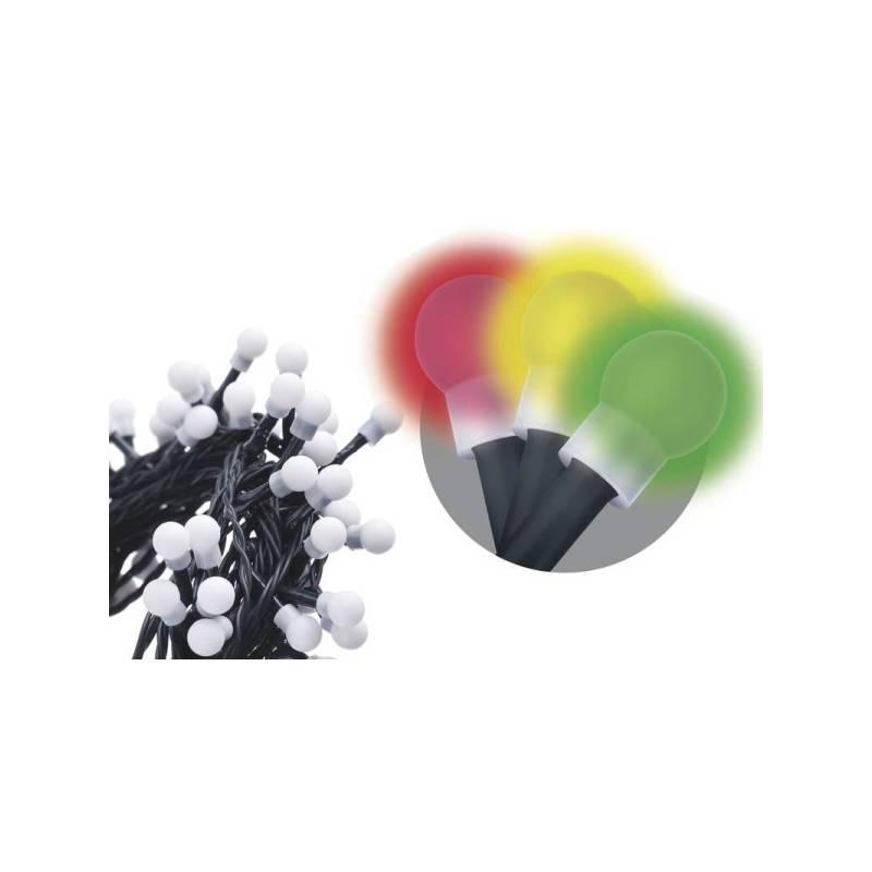 Vianočné osvetlenie EMOS 200 LED, 20m, řetěz (kulička), vícebarevná, časovač, i venkovní použití (1534091025)