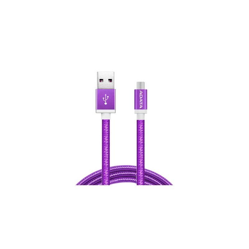 Kábel ADATA USB/micro USB, 1m, pletený (AMUCAL-100CMK-CPU) fialový