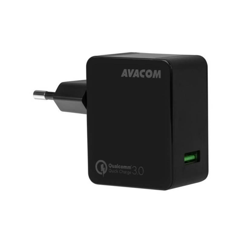 Nabíjačka do siete Avacom HomeMAX, 1x USB (3A), s funkcí rychlonabíjení QC 3.0 (NASN-QC1X-KK) čierna