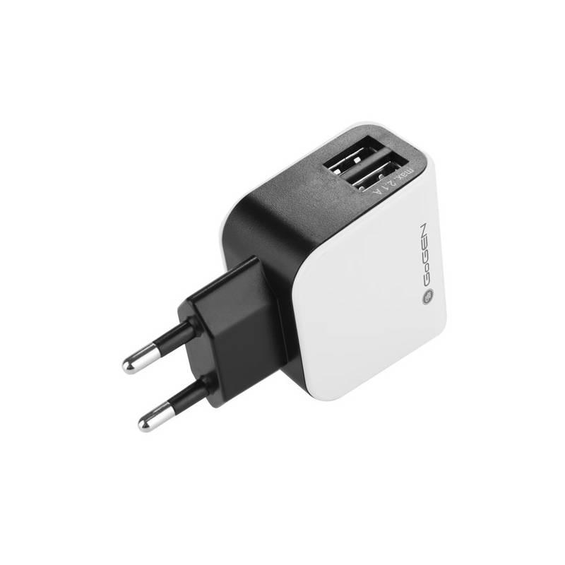 Nabíjačka do siete GoGEN ACH 200, 2x USB, 2,1A (GOGACH200) čierna/biela