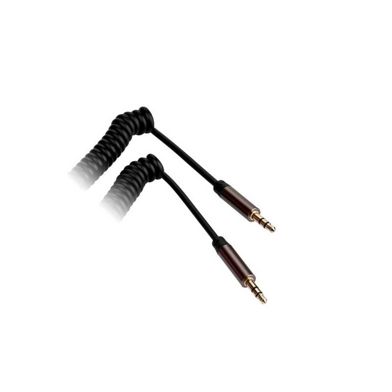 Kabel GoGEN Jack 3,5mm, 2m, pozlacené konektory, kroucený (GOGJACK200MM03) černý