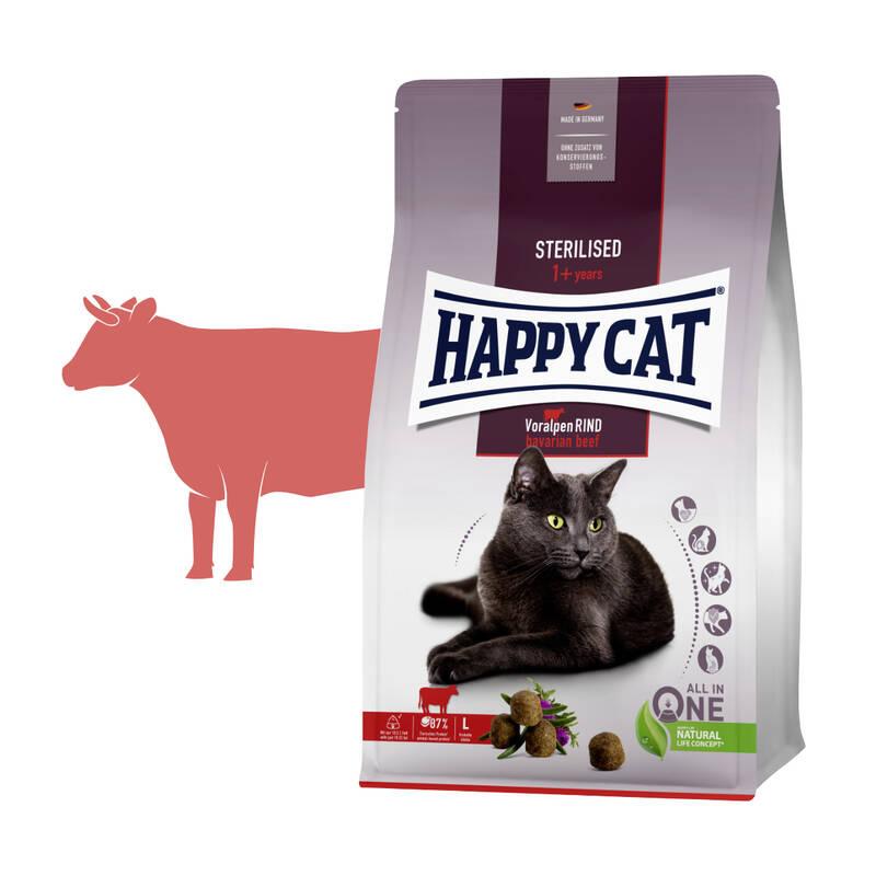 Granuly HAPPY CAT Sterilised Voralpen-Rind / Hovädzie 4 kg