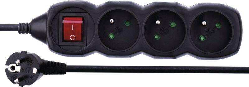 Kábel predlžovací EMOS 3x zásuvka, 1,5m, vypínač (1902330150) čierny