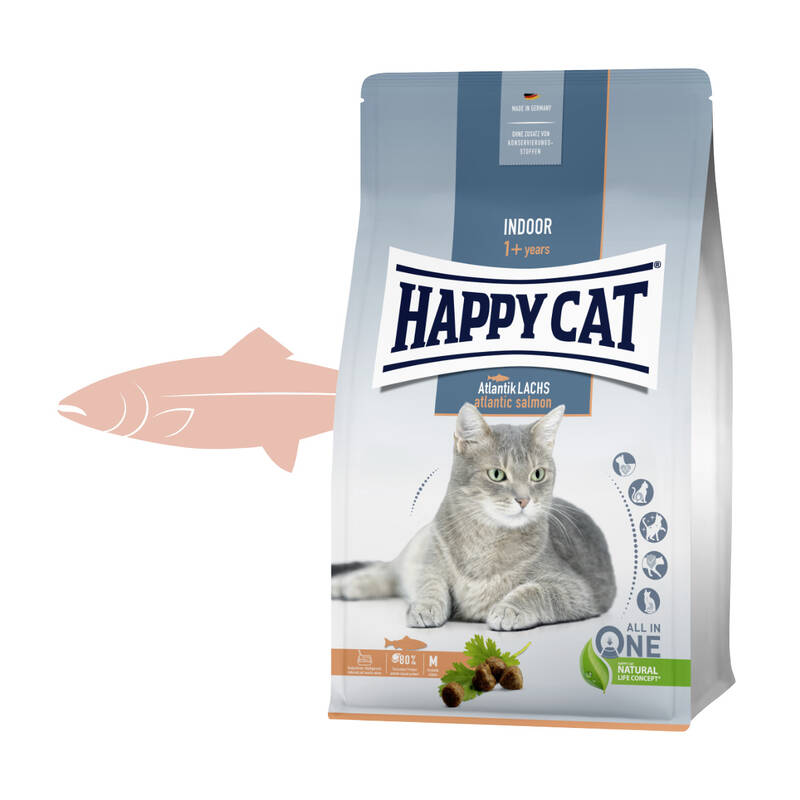 Granuly HAPPY CAT Adult Indoor Atlantik-Lachs / Atlantický losos 4 kg