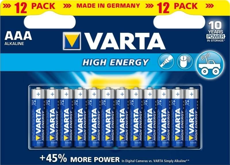 Batéria alkalická Varta High Energy, AAA, 12 ks (417642)