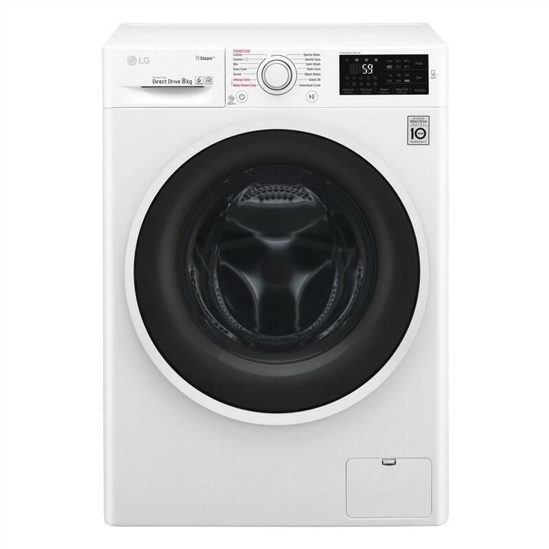 Automatická pračka LG F84J6TY0W černá barva/bílá barva + LG 10 let záruka na Direct Drive motor