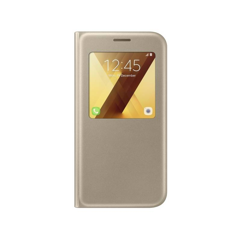 Púzdro na mobil flipové Samsung S-View na Galaxy A5 2017 (EF-CA520PFEGWW) zlaté