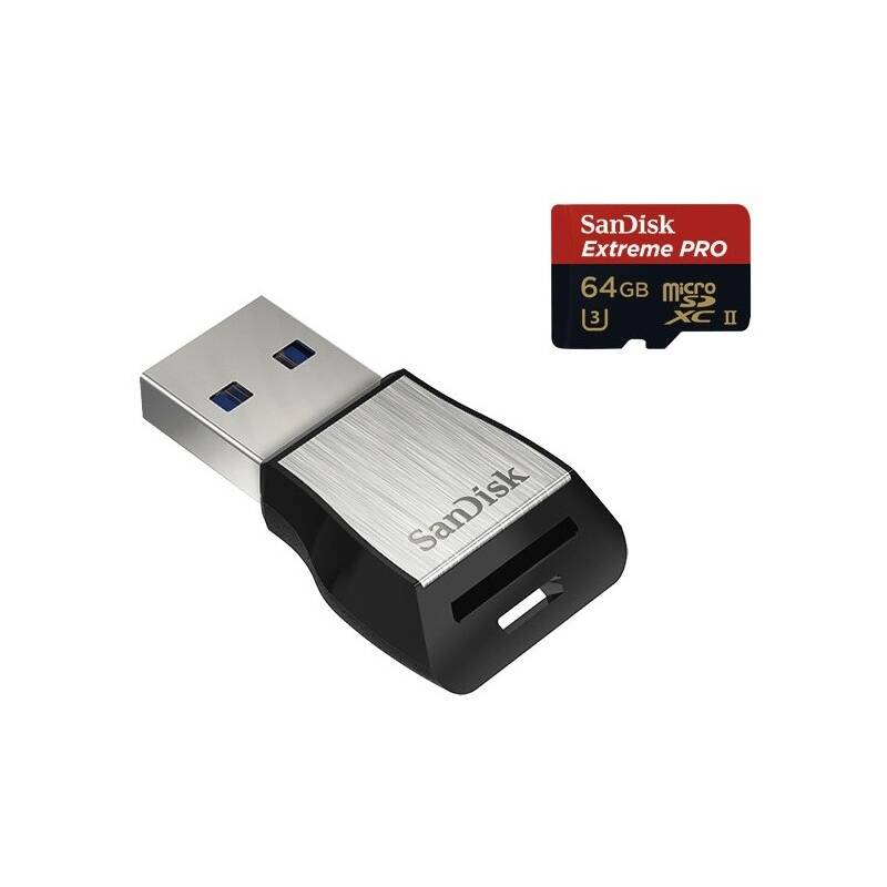 Pamäťová karta SanDisk Micro SDXC Extreme Pro 64GB + USB 3.0 čtečka (SDSQXPJ-064G-GN6M3)