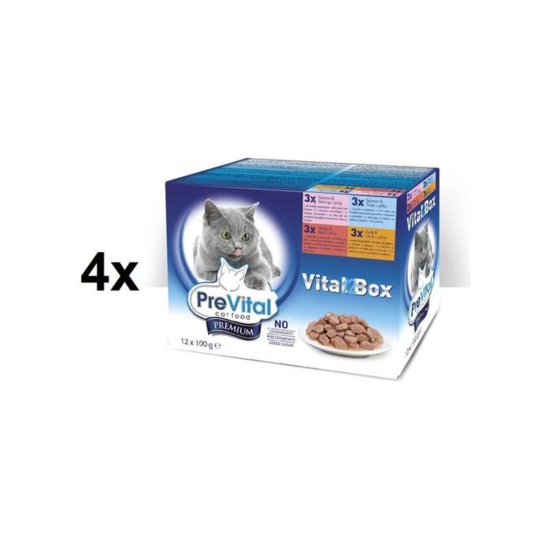 Kapsička PreVital vital box s lososem a krevetami, pstruhem, krůtím a hovězím, kachním a jehněčím v želé 4 x (12 x 100g)