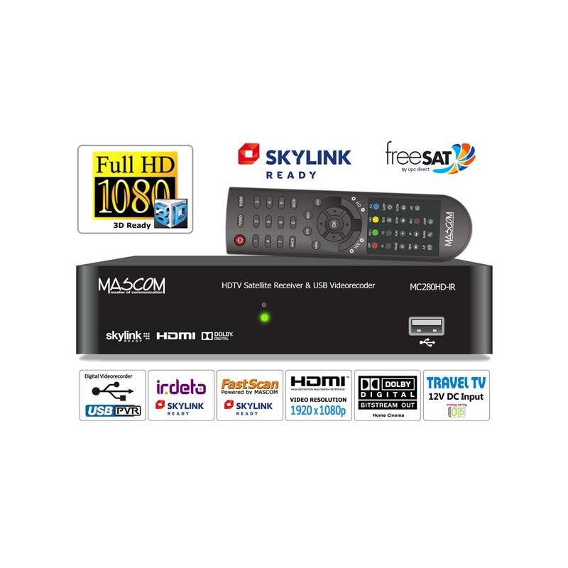 Satelitný prijímač Mascom MC280HD-IR v HD čierny