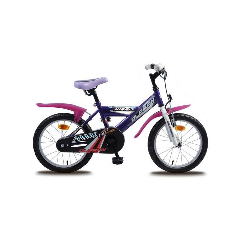 """Detský bicykel Olpran Hippo 16"""" s bezpečnostnými prvkami biely/fialový Sada cyklodoplňků (zvonek+blikačka+světlo) pro kolo dětské (zdarma) + Doprava zadarmo"""