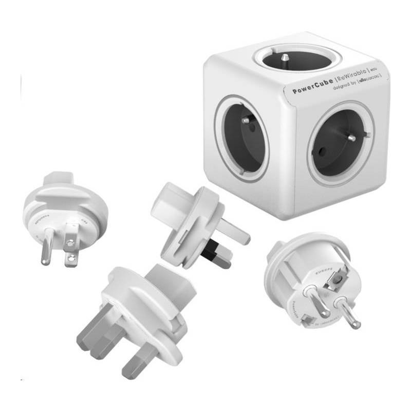 Cestovný adaptér Powercube Rewirable + Travel Plugs - šedý (456307) sivý