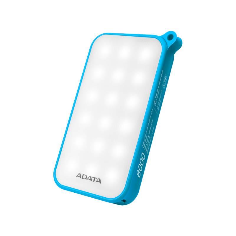 Power Bank ADATA D8000L 8000mAh, outdoor LED svítilna (AD8000L-5V-CBL) modrá