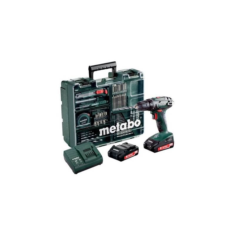 Aku vŕtačka Metabo BS 18 mobilní dílna 2x2,0 Ah