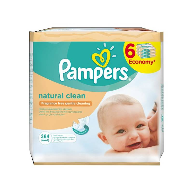 Obrúsky čistiace Pampers Naturally Clean 6 x 64ks