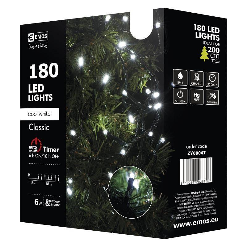 Vianočné osvetlenie EMOS 180 LED, 18m, řetěz, studená bílá, časovač, i venkovní použití (1534080045)
