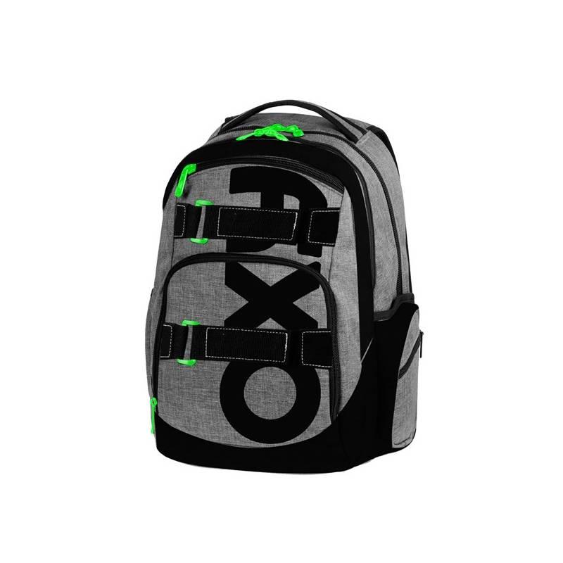 Batoh školský P + P Karton OXY Style Grey študentský Sáček na přezůvky P + P Karton OXY Neon Dark Blue (zdarma)