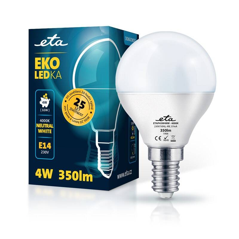 LED žiarovka ETA EKO LEDka mini globe 4W, E14, neutrálna biela (P45W4NW)
