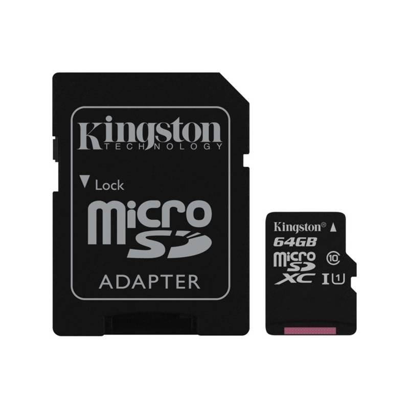 Pamäťová karta Kingston MicroSDXC 64GB UHS-I U1 (45R/10W) + adapter (SDC10G2/64GB)