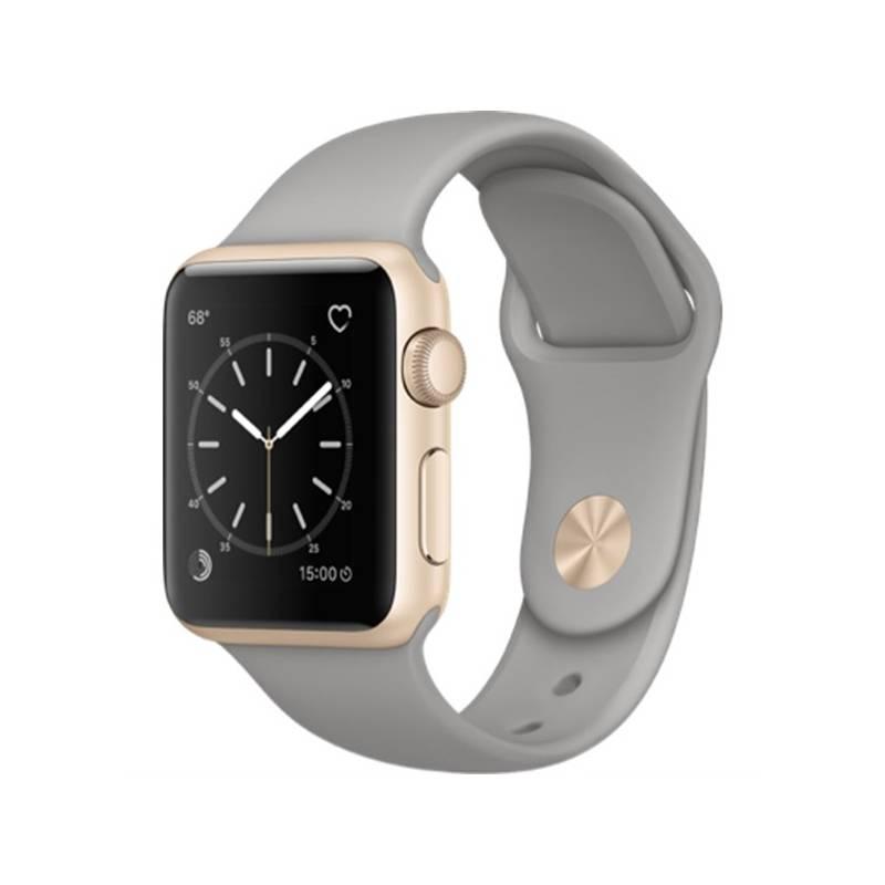 Chytré hodinky Apple Watch Series 2 38mm pouzdro ze zlatého hliníku – cementově šedý sportovní řemínek (MNP22CN/A) + Doprava zadarmo